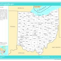 US Map- Ohio Counties with Selected Cities and Towns